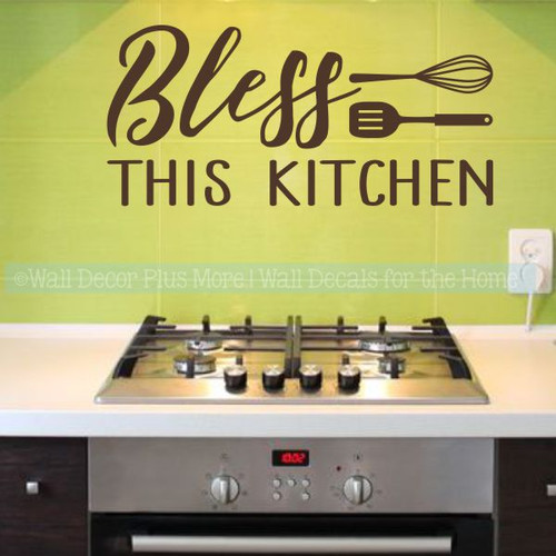 Kitchen Quotes Bless This Kitchen Wall Decor Vinyl Letters Decals-Chocolate Brown