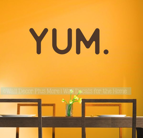 Option 1 Kitchen Wall Stickers Yum Vinyl Lettering Decals for Kitchen Home Decor-Chocolate Brown