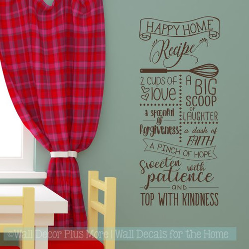 Kitchen Wall Decals Happy Home Recipe Vinyl Letters Wall Stickers-Chocolate Brown