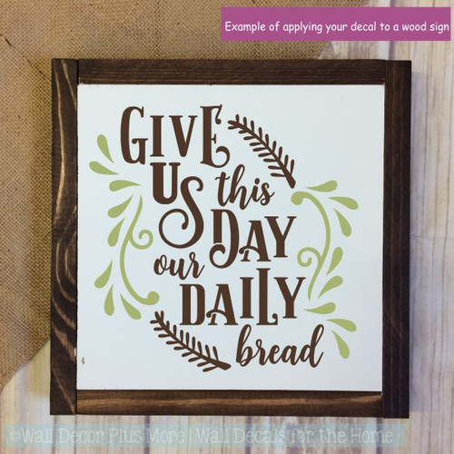 Wall Decals For Kitchen Daily Bread Quote Sticker Farmhouse Wall Art-Chocolate Brown, Olive