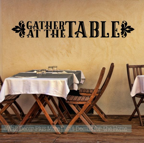 Farmhouse Wall Stickers Gather At The Table Vinyl Kitchen Wall Decals-Black