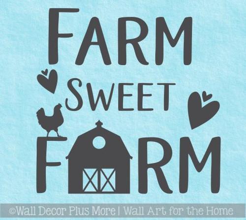 Farmhouse Kitchen Decor Farm Sweet Farm Vinyl Art Wall Decal Stickers