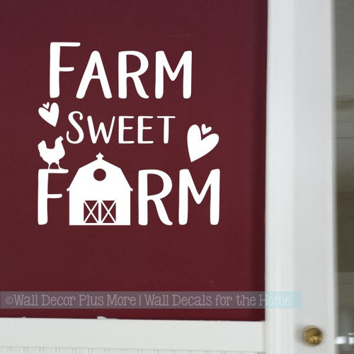 Farmhouse Kitchen Decor Farm Sweet Farm Vinyl Art Wall Decal Stickers-White