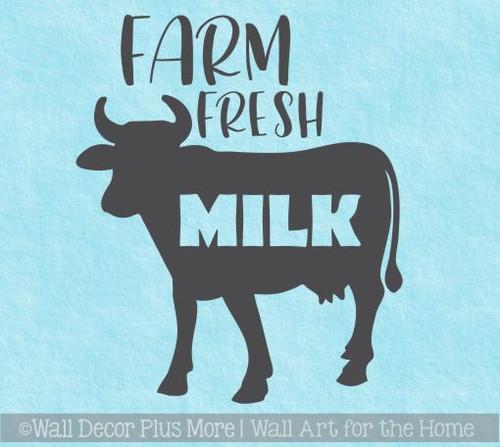 Kitchen Wall Décor Decals Farm Fresh Milk Home Decor Vinyl Art Stickers