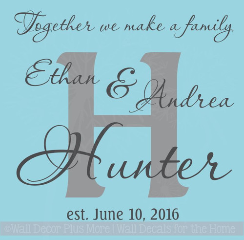 Wedding Couple Personalized Design with Background Letter, Wall Vinyl Decal with Names and Date