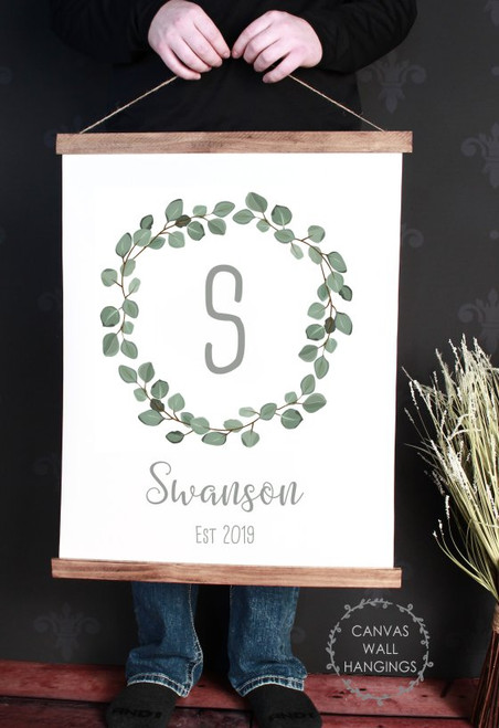19x24 - Wood & Canvas Wall Hanging Wreath Monogram Name Customized Wall Sign