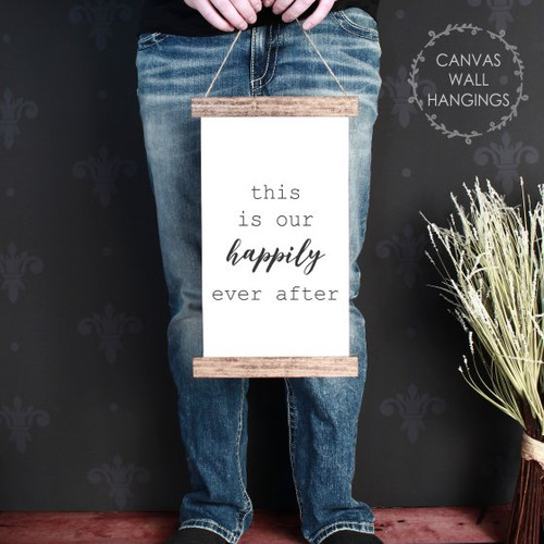9x15 - Wood & Canvas Wall Hanging This Is Our Happily Ever After Wall Art