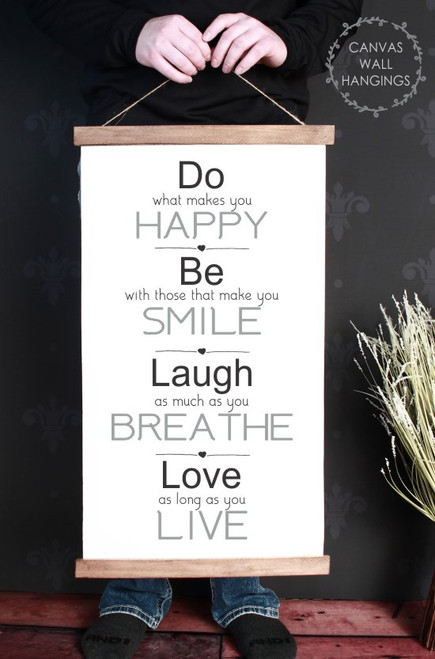 15x26 - Wood & Canvas Wall Hanging, Do Be Laugh Love Inspirational Wall Art Sign