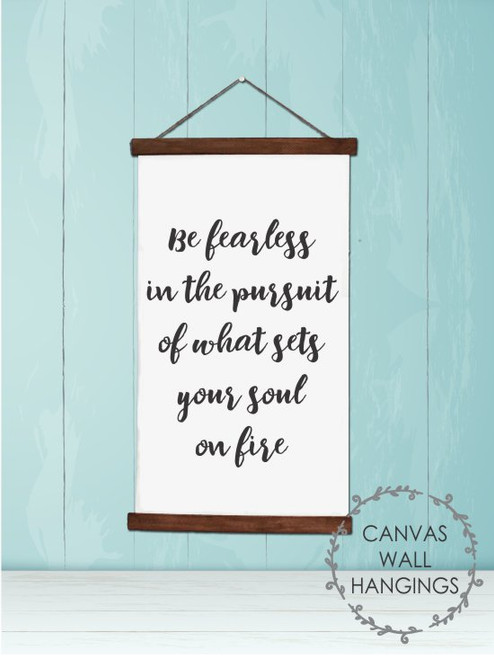 9x15 - Wood & Canvas Wall Hanging, Be Fearless Inspirational Wall Art Sign
