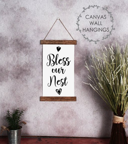 9x15 - Wood & Canvas Wall Hanging, Bless Our Nest Farmhouse Wall Art Sign