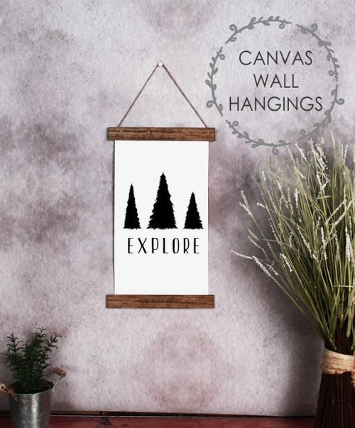 9x15 - Wood & Canvas Wall Hanging, Explore with Trees Woodland Nursery Wall Art