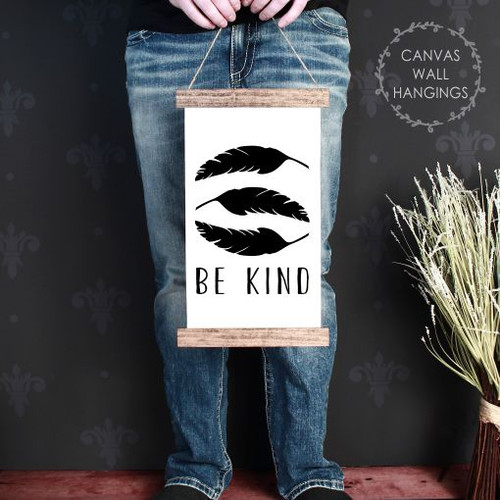 9x15 - Wood & Canvas Wall Hanging, Be Kind Feathers Woodland Nursery Wall Art