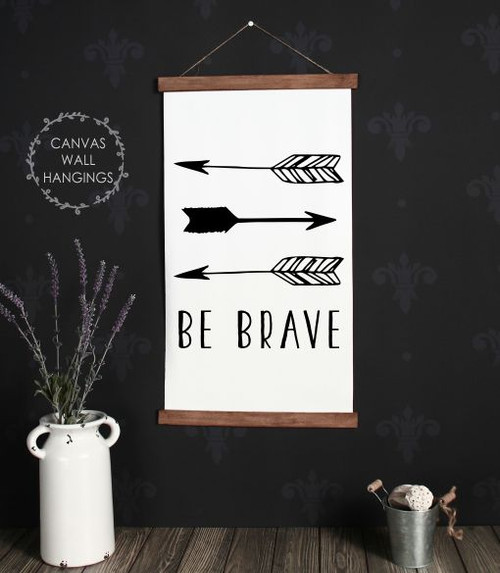 15x26 - Wood & Canvas Wall Hanging, Be Brave Woodland Nursery Wall Art