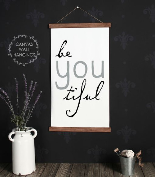15x26 - Wood & Canvas Wall Hanging, Be You Girls Inspirational Room Wall Art