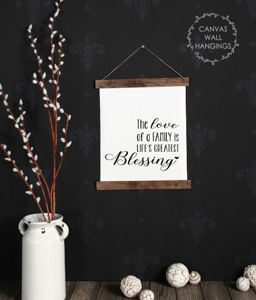 12x14.5 - Wood & Canvas Wall Hanging The Love of A Family Blessings Wall Art Sign