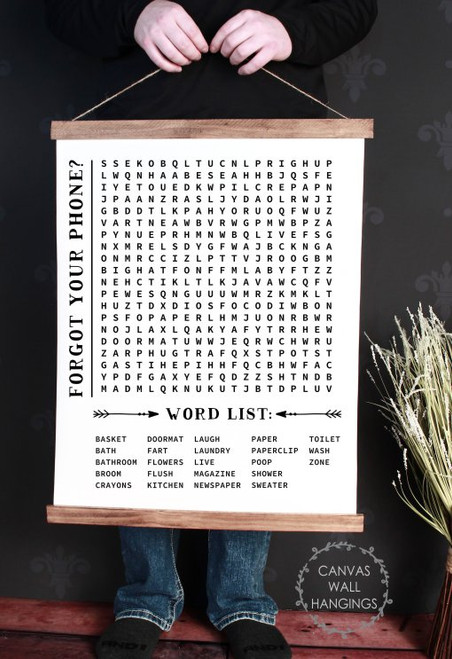 19x24 - Wood & Canvas Wall Hanging Bathroom Word Search Forgot Phone Wall Art