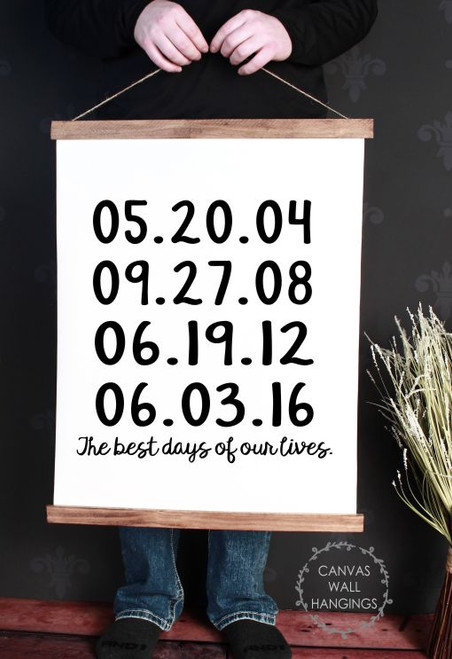 19x24 - Wood & Canvas Wall Hanging, Best Days Of Our Lives Custom Dates Wall Art
