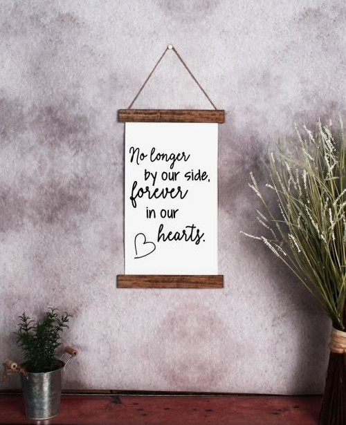 9x15 - Wood & Canvas Wall Hanging, Forever In Our Hearts Memorial Wall Art