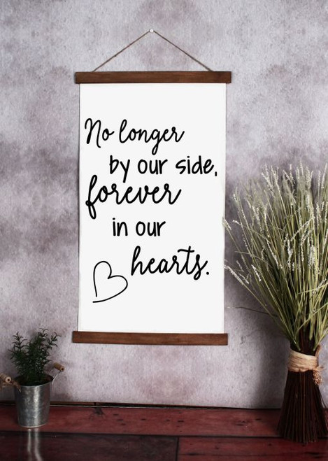 15x26 - Wood & Canvas Wall Hanging, Forever In Our Hearts Memorial Wall Art