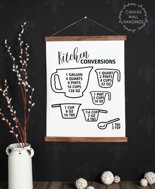 19x24 - Wood & Canvas Wall Hanging, Kitchen Conversions Chart Wall Art Sign