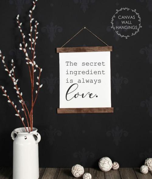 12x14.5 - Wood & Canvas Wall Hanging, Secret Ingredient Love Kitchen Wall Art