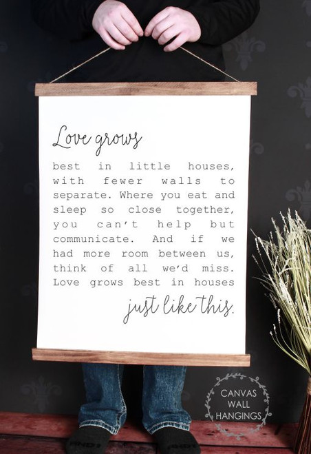 19x24 - Wood & Canvas Wall Hanging, Love Grows Best Little Houses Wall Art