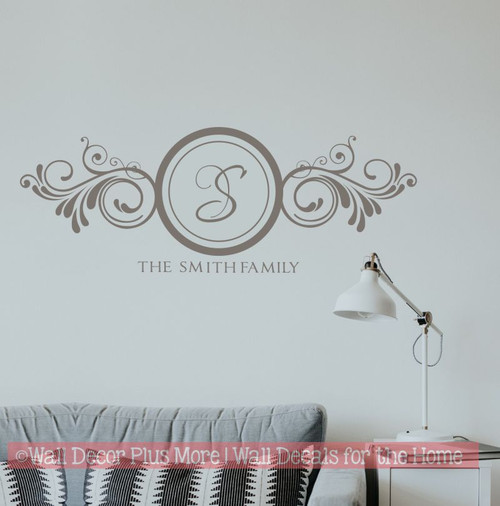 The Family Name with Large Monogram Letter in Swirls Art Wall Decal Stickers-Castle Gray