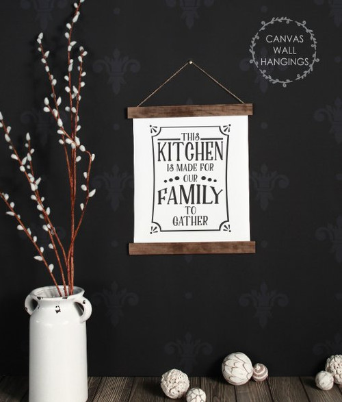 12x14.5 - Wood & Canvas Wall Hanging, Kitchen For Our Family To Gather Wall Art