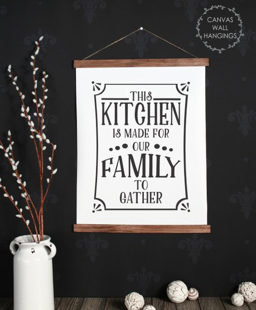 19x24 - Wood & Canvas Wall Hanging, Kitchen For Our Family To Gather Wall Art