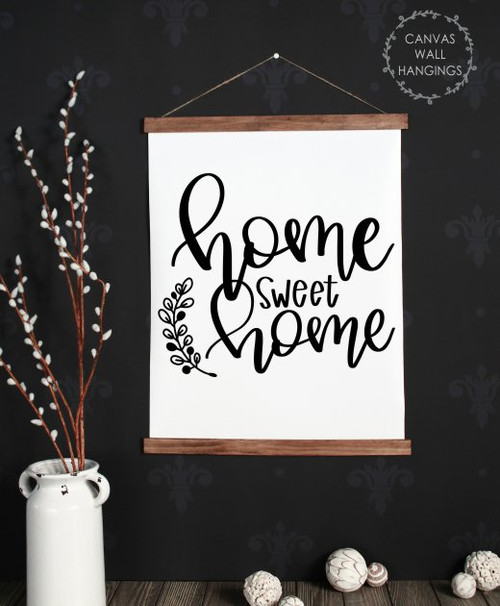 19x24 - Wood & Canvas Wall Hanging, Home Sweet Home Farmhouse Style Wall Art