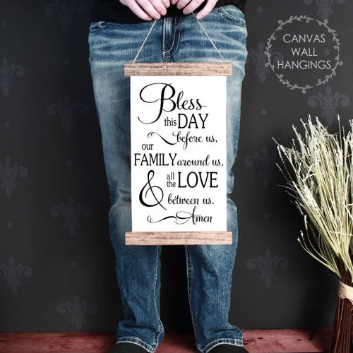9x15 - Wood & Canvas Wall Hanging, Bless This Day Family Love Kitchen Wall Art