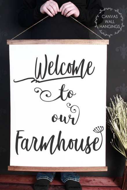 23x30 - Wood & Canvas Wall Hanging, Welcome to our Farmhouse Kitchen Wall Art
