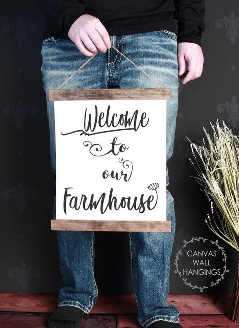 12x14.5 - Wood & Canvas Wall Hanging, Welcome to our Farmhouse Kitchen Wall Art