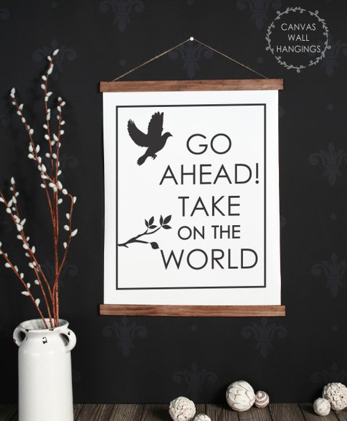 19x24 - Wood & Canvas Wall Hanging, Baby Nursery Wall Art Take on the World