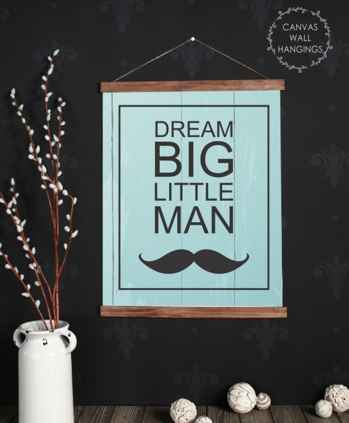 19x24 - Wood & Canvas Wall Hanging, Boys Nursery Wall Art Dream Big Little Man