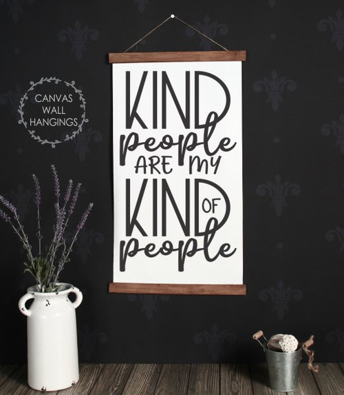 15x26 - Wood & Canvas Wall Hanging, Kind People Inspirational Wall Art for School, Kids