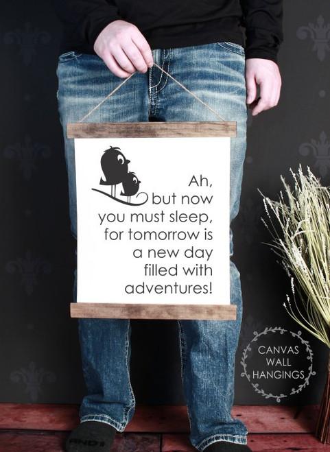 12x14.5 - Wood & Canvas Wall Hanging, Nursery Go To Sleep Wall Art Baby Decor