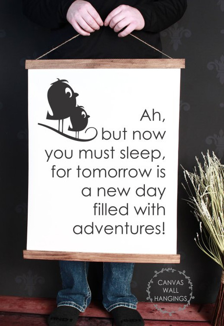 19x24 - Wood & Canvas Wall Hanging, Nursery Go To Sleep Wall Art Baby Decor
