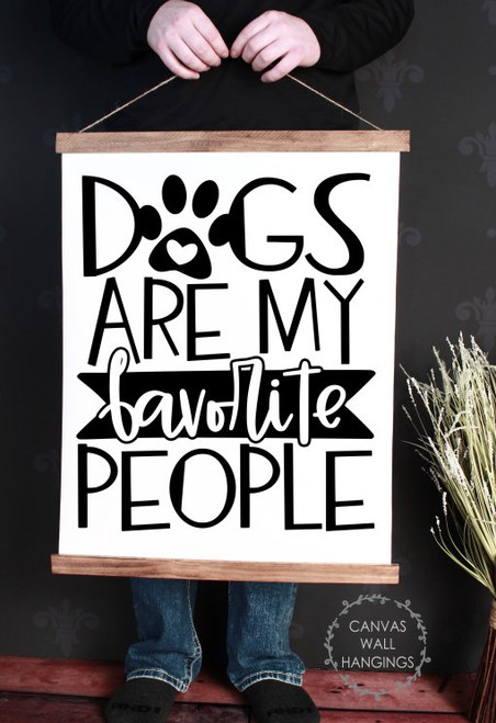 19x24 - Wood & Canvas Wall Hanging, Dogs Favorite People Wall Art Home Decor