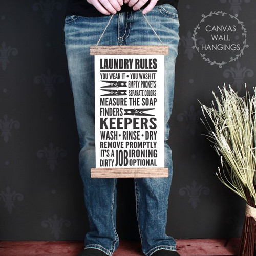 9x15 - Wood & Canvas Wall Hanging, Laundry Room Words Wall Art Print