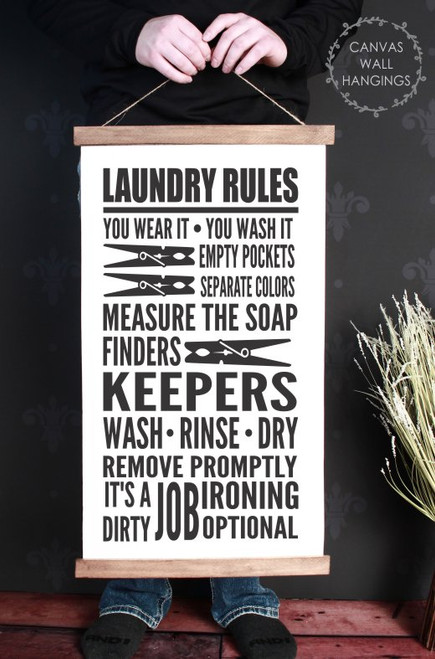15x26 - Wood & Canvas Wall Hanging, Laundry Room Words Wall Art Print