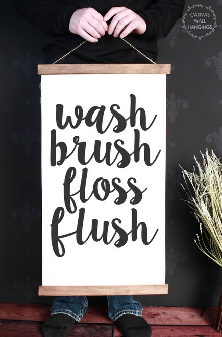 15x26 - Wood & Canvas Wall Hanging, Wash Brush Bathroom Wall Art Print