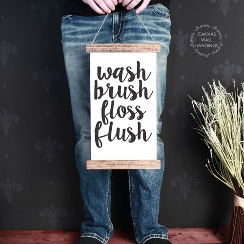 9x15 - Wood & Canvas Wall Hanging, Wash Brush Bathroom Wall Art Print