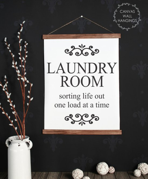 19x24 - Wood & Canvas Wall Hanging, Laundry Room Sorting Life Wall Art