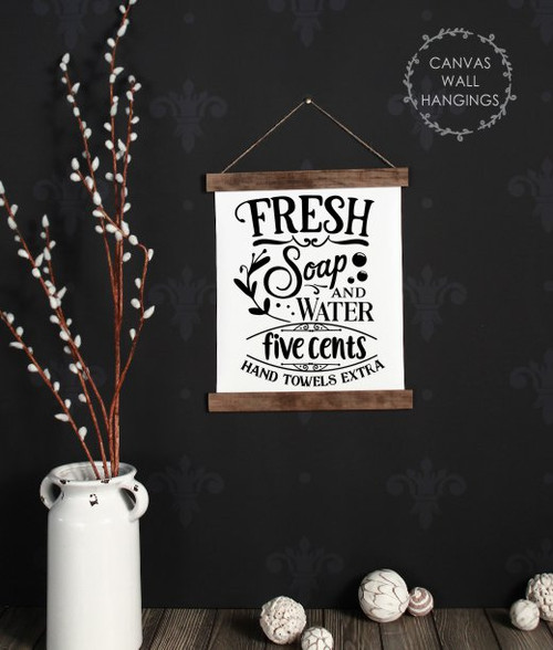 12x14.5 - Wood & Canvas Wall Hanging, Fresh Soap Water Laundry Quote Wall Art