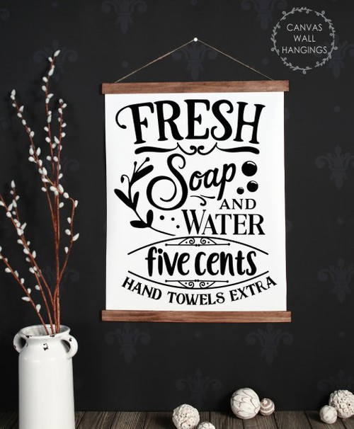 19x24 - Wood & Canvas Wall Hanging, Fresh Soap Water Laundry Quote Wall Art