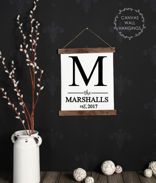 12x14.5 - Wood & Canvas Wall Hanging, Monogram Last Name Est Date Custom Wall Art