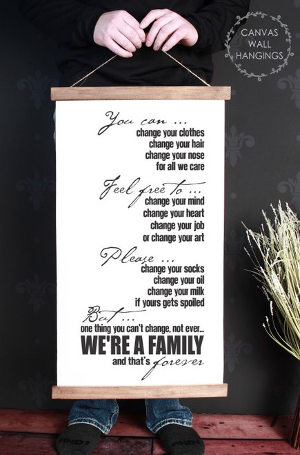 15x26 - Wood & Canvas Wall Hanging, We're a Family Home Wall Art