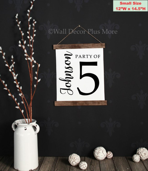 12x14.5 - Wood & Canvas Wall Hanging, Party of Number Last Name Custom Wall Art