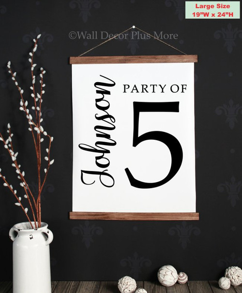 19x24 - Wood & Canvas Wall Hanging, Party of Number Last Name Custom Wall Art